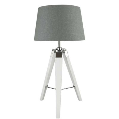 Modern Textured Wood Base Bedside Table Lamp Fabric Shade