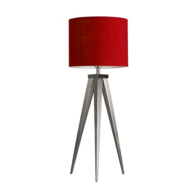 Caligula Large Brushed Chrome Tripod Table Lamp & Red Rolla Shade
