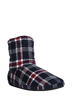 F&F Brushed Fleece Checked Bootie Slippers - Navy