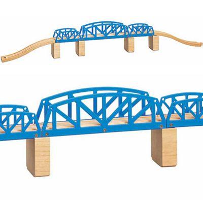 Toys for Play Cross Hatch Bridge 9pcs for Wooden Train Set 50437