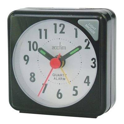 Acctim 25/738BB Ingot Mini Travel Alarm Clock - Black