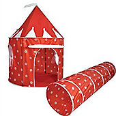 Red Polka Dot Pop Up Play Tent and Tunnel Set