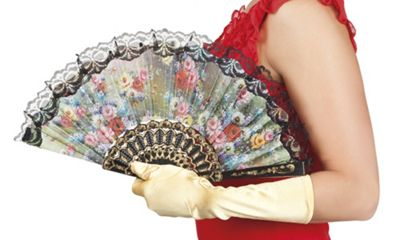 Boland Granada Black Flower Lace Hand Fan Fancy Dress Accessory 25cm