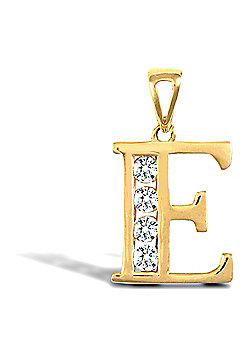 Jewelco London 9ct Gold CZ Initial ID Personal Pendant, Letter E - 1.7g