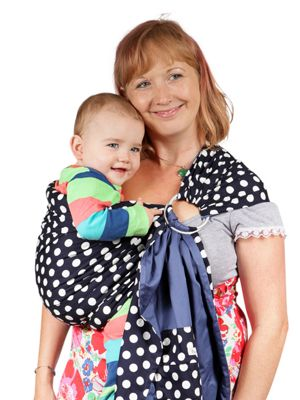 Palm and Pond Ring Sling Baby Carrier - Navy Blue with White Spots