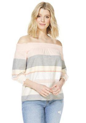 F&F Striped Bardot Top Pink 22