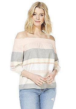 F&F Striped Bardot Top - Pink