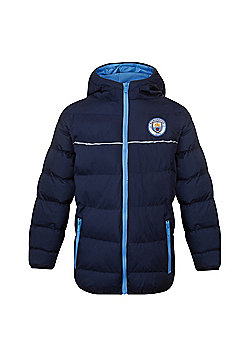 Manchester City FC Boys Quilted Jacket - Navy