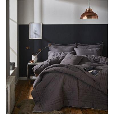 Catherine Lansfield Brushed Blanket Stitch Grey Duvet Cover Set - Single