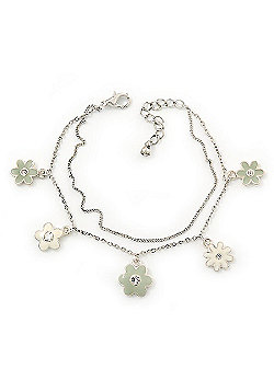 Delicate Silver Tone Double Chain With Enamel Floral Charms Bracelet (White/ Pale Green) - 18cm Length/ 4cm Extension