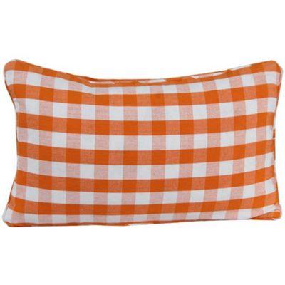 Homescapes Cotton Block Check Orange Cushion Cover, 30 x 50 cm