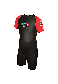 Childs Shortie 2.5mm Black/Red Age 8/9