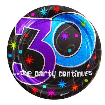 30th Birthday Dessert Plates - 17cm Paper Party Plates