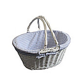 Blue Gingham Lined Oval Wicker Shopping Basket