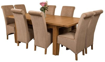 Seattle Extending Kitchen Solid Oak Dining Set Table + 8 Beige Fabric Chairs