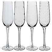 Set of 4 Mikasa Etched Flute Glasses