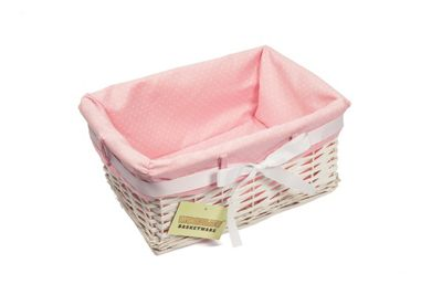 Rectangular White Willow Wicker Basket With Pink Lining -Small