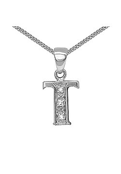 Jewelco London 9 Carat White Gold Elegant Diamond-Set Pendant on an 18 inch Pendant Chain Necklace - Inital T