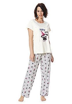 F&F Party Pug Pyjamas - Pink & Grey