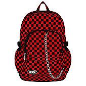 Chok Black & Red Checker Canvas Backpack 29x42x13cm,