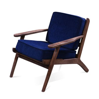 Homescapes Navy Blue Scandinavian Style 'Vidia' Handcrafted Chenille Armchair