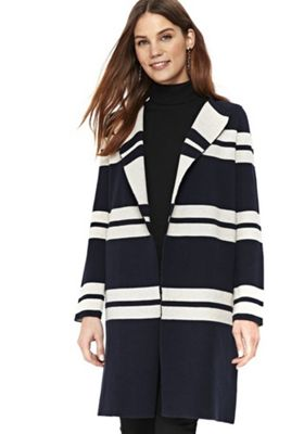 Wallis Striped Double Faced Coatigan Navy/Cream M