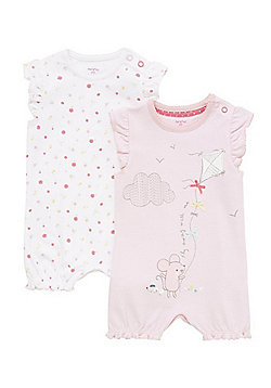 F&F 2 Pack of Frill Hem Rompers - Pink & White