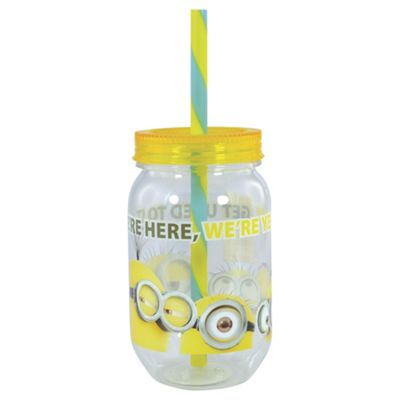 Despicable Me minions canning jar tumbler with screw lid & staw