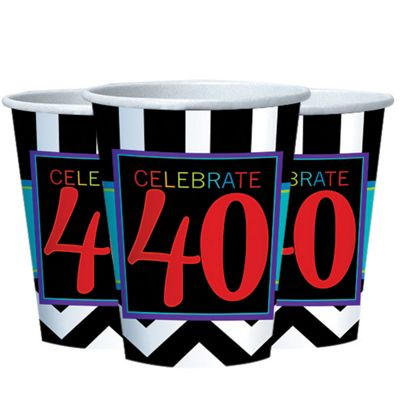 40th Birthday Cups - 255ml Paper Party Cups