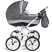 Mee-Go Milano Classic White Chassis Travel System (Dove Grey)