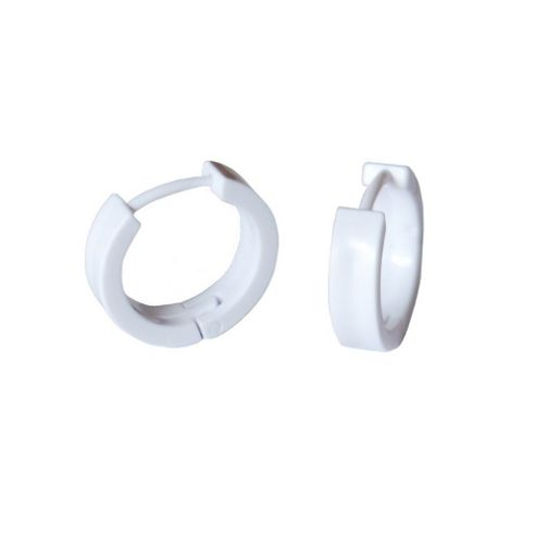 white plastic hoop earrings buy white plastic hinged huggie hoop earrings 6546