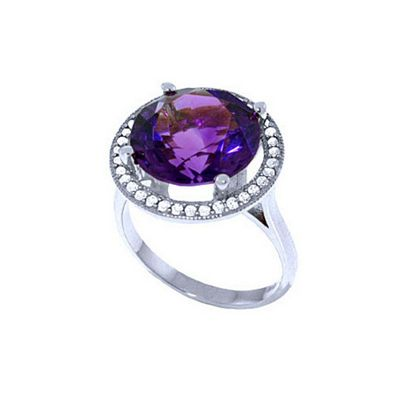 QP Jewellers Diamond & Amethyst Ring in 14K White Gold - Size Q