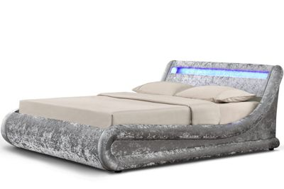 Madrid LED Ottoman Storage Silver Crushed Velvet Fabric Bed Double