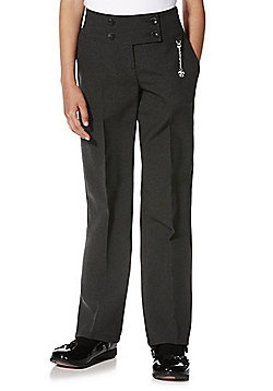 F&F School Girls Fob Detail Bootcut Trousers - Grey