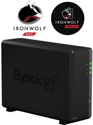 Synology DiskStation DS118/12TB-IW High-performance 1-bay 12TB(1x12TB Seagate IronWolf) NAS for small office and home users