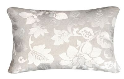 Beige and Ivory Large Cushion Embroidered Sparkly Floral Design