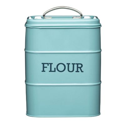Living Nostalgia Vintage Flour Storage Tin, Blue