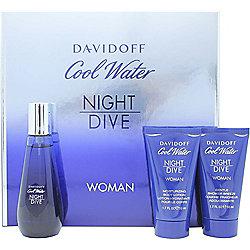 Davidoff Cool Water Night Dive Woman Gift Set 50ml EDT + 50ml Body Lotion + 50ml Shower Gel For Women