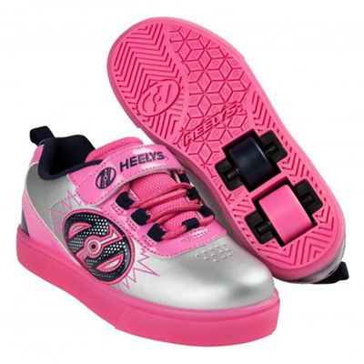Heelys POW Lighted Silver/Pink/Navy Kids Heely X2 Shoe JNR 13
