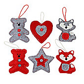 Set of 6 Red & Grey Felt Christmas Tree Decorations