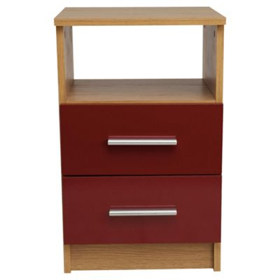 Jazz 2 Drawer Bedside Cabinet, Oak/Red Gloss