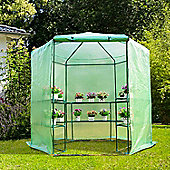 Outsunny 3-Tier Hexagonal Walk In Portable Greenhouse Outdoor (194D x 225H cm)
