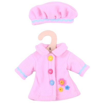 Bigjigs Toys Pink Rag Doll Coat and Hat for 28cm Soft Doll - Suitable for 2+ Years