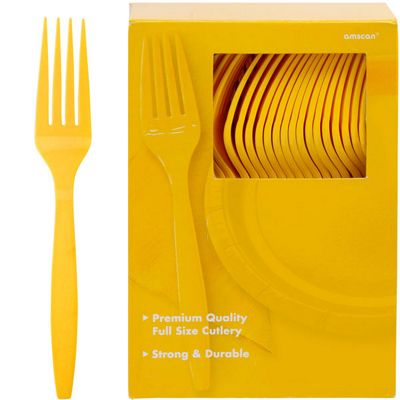 Yellow Plastic forks - 100 Pack