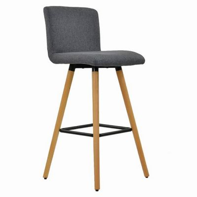 Moritz Wooden Bar Stool Charcoal Fabric