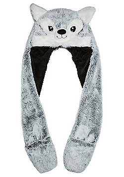 F&F Wolf Face Faux Fur Hooded Scarf with Mittens - Grey