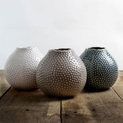 Buy Set Of 3 Glazed Ceramic Blue Cream Beige 11cm Sea Urchin