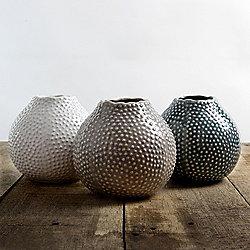 Set of 3 Glazed Ceramic Blue, Cream & Beige 11cm Sea Urchin Vases
