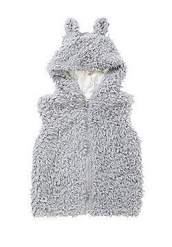 Minoti Faux Fur Hooded Gilet - Grey