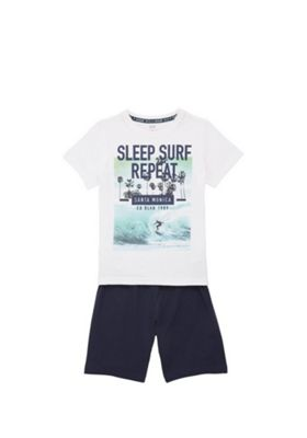 F&F Sleep Surf Repeat T-Shirt and Shorts Set White/Blue 6-7 years